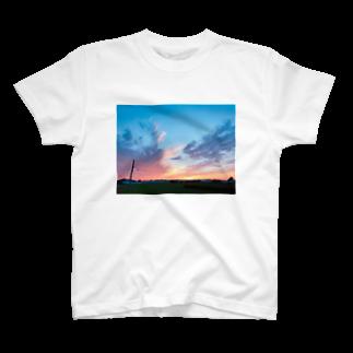 あんこの夏の夕焼けフォトグラフ T-shirts
