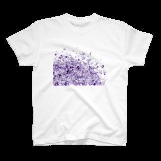 maro's POKER FACE suzuri店のマーブルパープル T-shirts