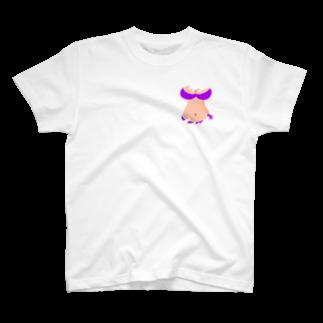 りおたのさりげないおっぱいTシャツ(紫) T-shirts