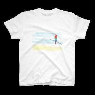 cranes designのTropical parrot 南国のオウム T-shirts