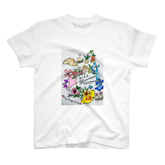 お台場ローズベイデザインの名前入りオーダー アミューズフラワー T-shirts