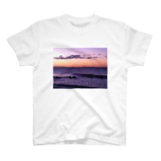 sunset tee beach sea surf 夕日 photo フォトt  ビーチ ビッグシルエット T-shirts