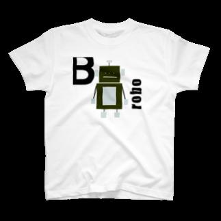 mashibuchiのブラックロボットと文字 T-shirts