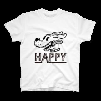 nidan-illustrationのhappy dog #1 (black ink) T-shirts