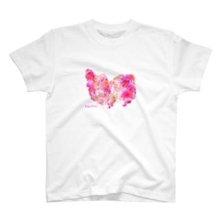 花柄パピヨン T-shirts