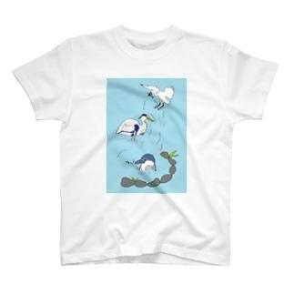 水辺のサギーズ(水色) T-shirts