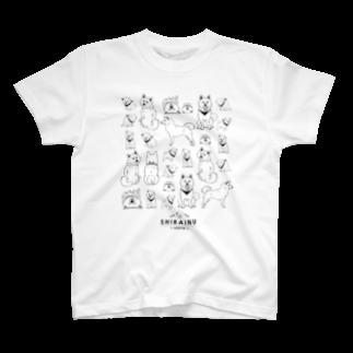 タバタ画房のSHIBAINU-WHITE(白柴) T-shirts