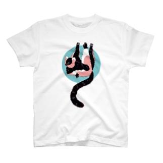 クロシロエリマキキツネザル/ブルー T-shirts