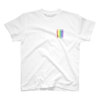 控えめcolor bar - rainbow - T-shirts