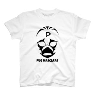 パグ・マスカラス(モノクロ) T-shirts
