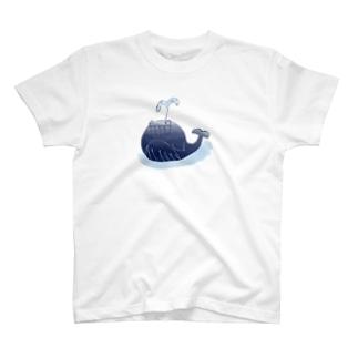 ニカクジラ大きめ 裏無し T-shirts