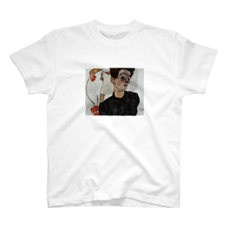 Art Baseのエゴン・シーレ / 1912 / Self-Portrait with Chinese lantern fruits / Egon Schiele T-shirts