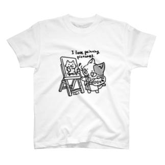 お絵かきをする猫 T-shirts