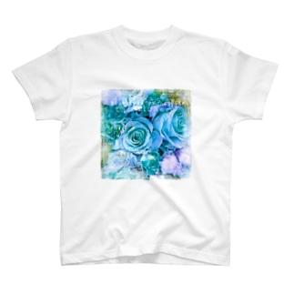 幸せの青い薔薇 T-shirts