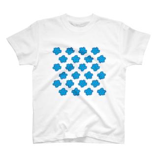水色の花柄 T-shirts