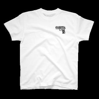 ぽよっとちよっとのDIJのピストル両面Tシャツ T-shirts