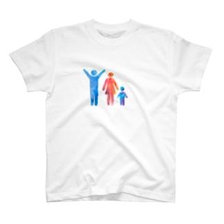 お父さんでーす(三人家族ver.) T-shirts