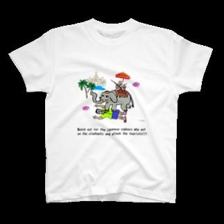 uwotomoの【THAILAND】象に乗った強盗 T-shirts