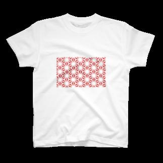 旻天堂(旧 ゆうれい星)の麻の葉 紅 T-shirts