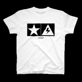 highvoltagewearsのThunder and Star 白 T-shirts