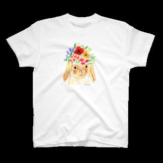 ヒラノマキコの花畑のロップイヤー T-shirts
