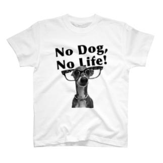 No dog,No life! 黒 T-shirts