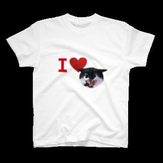 保護猫活動家すみパンさん家への支援グッズ!のNo.18 あいらぶバットにゃん♪ T-shirts