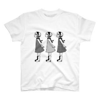 ヒヨッコ堂のレトロガールズ ノーマル T-shirts