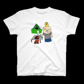 A.K FACTORYのはるやんとぴよまるのBBQ T-shirts
