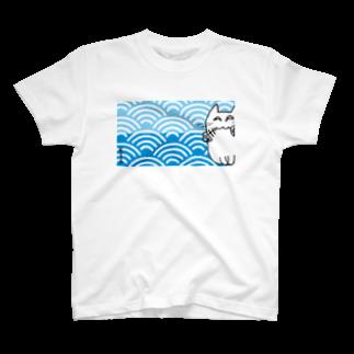 KTSの夢見る猫 青海波 T-shirts