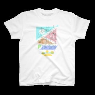 メノノッカ(menonokka)の紙ペラにゃんこ(たくさん) T-shirts