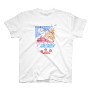 紙ペラにゃんこ(たくさん/色2) T-Shirt