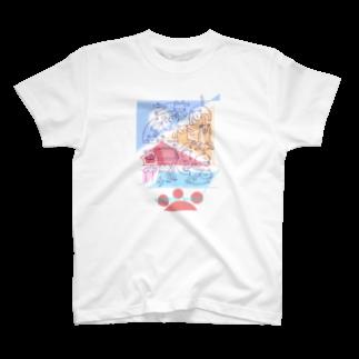 メノノッカ(menonokka)の紙ペラにゃんこ(たくさん/色2) T-shirts