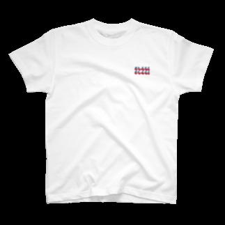 chaki-2の渋ロゴ レッド×ブルー T-shirts
