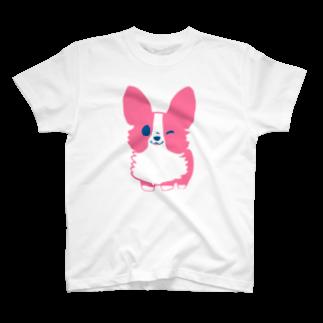 びすけのピンクコーギー  T-shirts