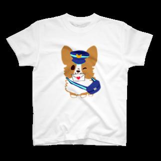 びすけの配達コーギー  T-shirts