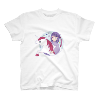 cranes designのYumekawa Girl Hen with Unicorn ゆめかわ少女 ユニコーンと一緒編 T-shirts
