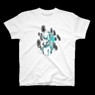 ACKEY [drum]✖︎[art]のヘッドホン少女 T-shirts