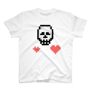 【ドットマニア】 ドット絵 ドクロ ハート T-shirts