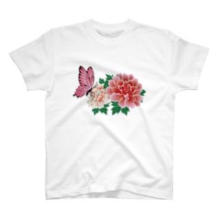 牡丹と蝶々 T-shirts
