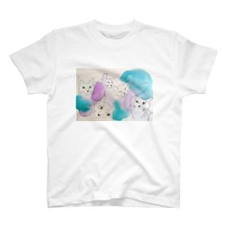 ねこねこライラック T-shirts