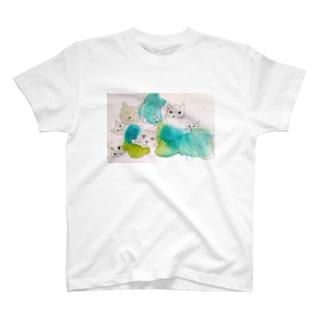 ねこねこグリーン T-shirts