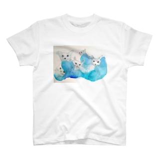ねこねこブルー T-shirts