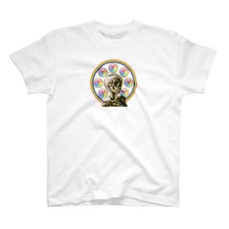 ゴッホ骸骨と心マンダラ T-shirts
