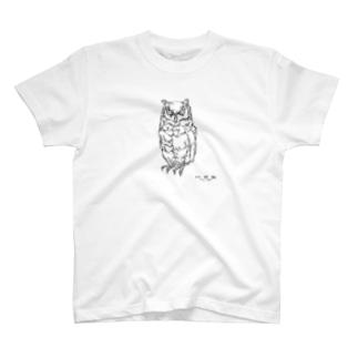 左手で描いたフクロウB T-shirts