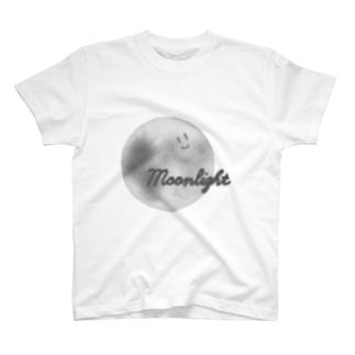 顔つき月【モノクロ】 T-shirts