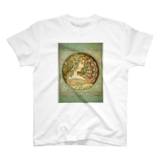 ミュシャ /1901 / Laurel / Alphonse Mucha T-shirts