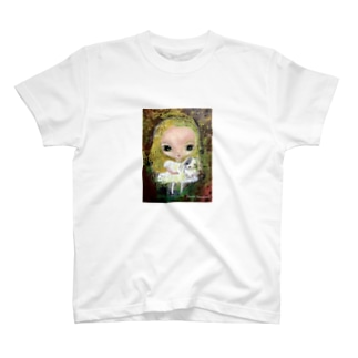 角南育代  仔犬と少女 T-shirts