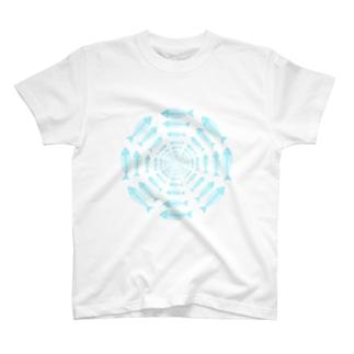 図形絵魚ボーンフィッシュ T-shirts