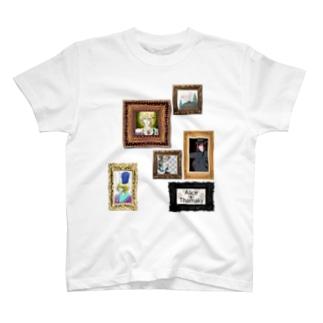 有須宮家肖像画柄 T-shirts